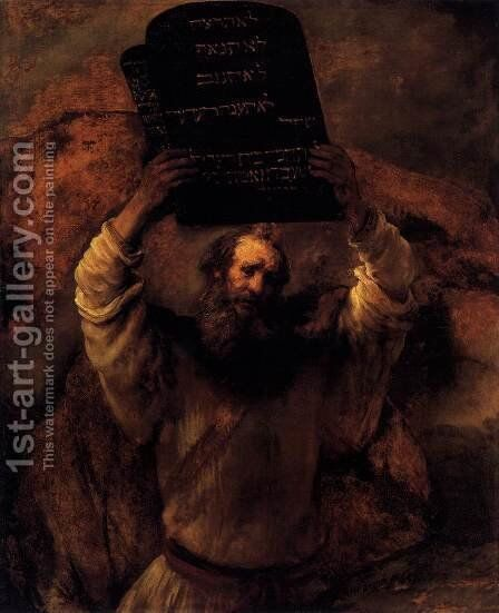 Moses Smashing the Tablets of the Law by Rembrandt - Reproduction Oil Painting