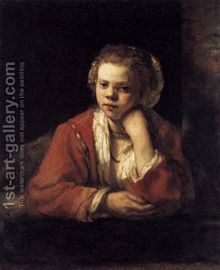 Girl At A Window Painting By Rembrandt Reproduction 1st Art Gallery