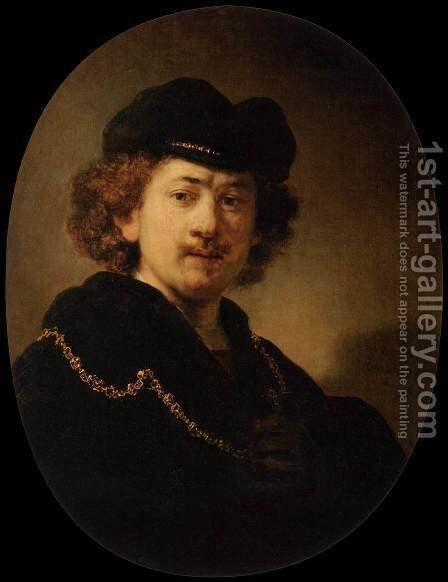 Self-Portrait Wearing a Toque and a Gold Chain by Rembrandt - Reproduction Oil Painting