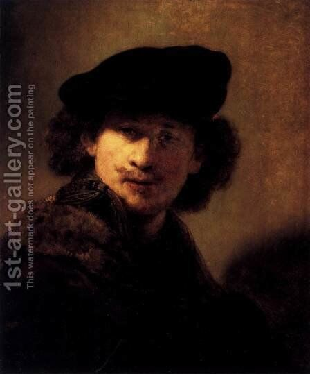 Self-Portrait with Velvet Beret and Furred Mantel by Rembrandt - Reproduction Oil Painting