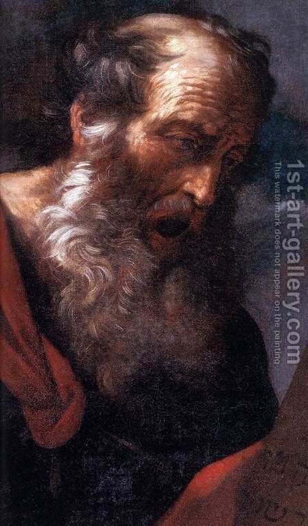 Moses with the Tables of the Law (detail) by Guido Reni - Reproduction Oil Painting