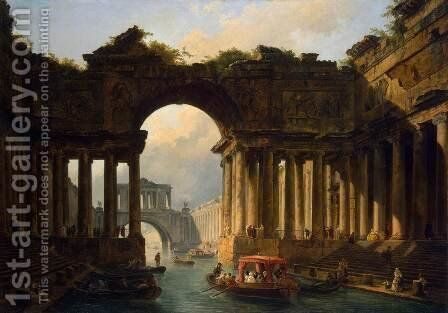 Architectural Landscape with a Canal by Hubert Robert - Reproduction Oil Painting