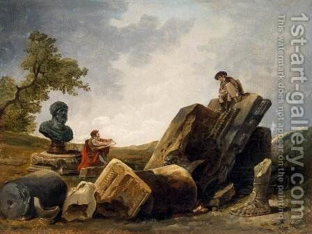 Painters by Hubert Robert - Reproduction Oil Painting