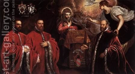 Annunciation and Three Avogadri by Domenico Tintoretto (Robusti) - Reproduction Oil Painting