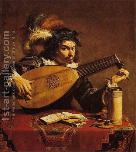 The Lute Player by Theodoor Rombouts - Reproduction Oil Painting