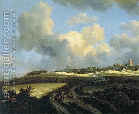 Road through Corn Fields near the Zuider Zee by Jacob Van Ruisdael - Reproduction Oil Painting