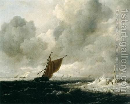 Stormy Sea with Sailing Boats by Jacob Van Ruisdael - Reproduction Oil Painting
