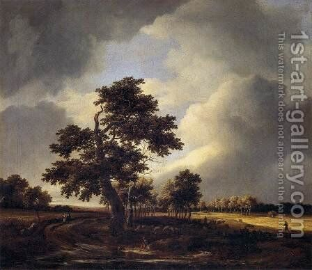 Landscape with Shepherds and Peasants by Jacob Van Ruisdael - Reproduction Oil Painting