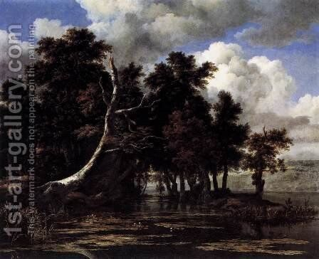 Oaks by a Lake with Waterlilies by Jacob Van Ruisdael - Reproduction Oil Painting