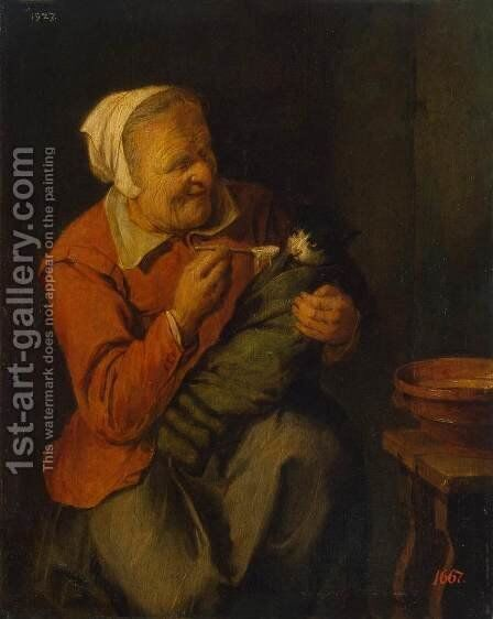 Peasant Woman with a Cat by David The Younger Ryckaert - Reproduction Oil Painting