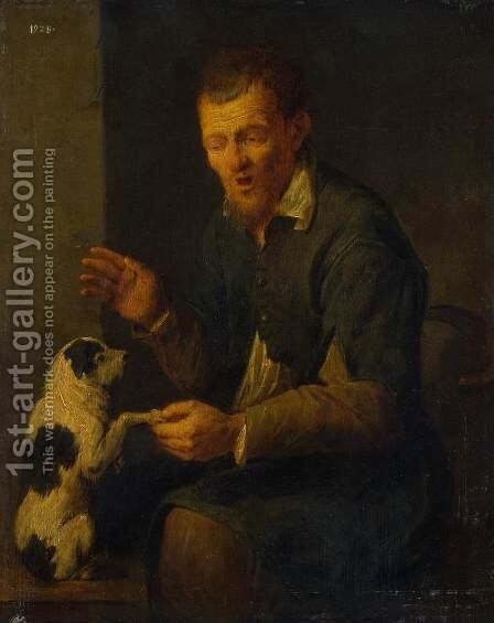 Peasant with a Dog by David The Younger Ryckaert - Reproduction Oil Painting