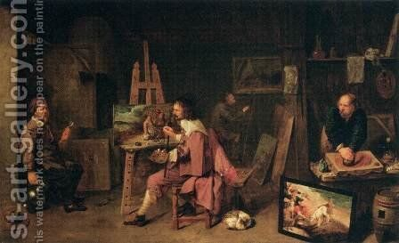 Painter's Studio by David The Younger Ryckaert - Reproduction Oil Painting