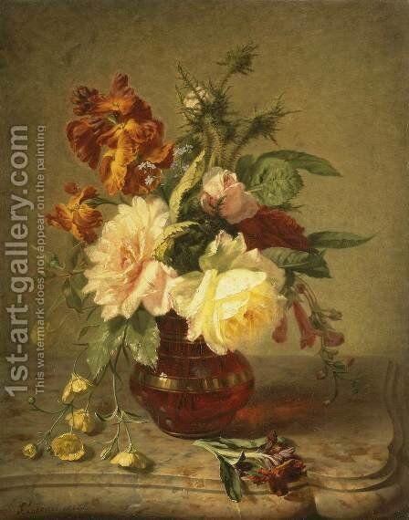 Flowers by Simon Saint-Jean - Reproduction Oil Painting