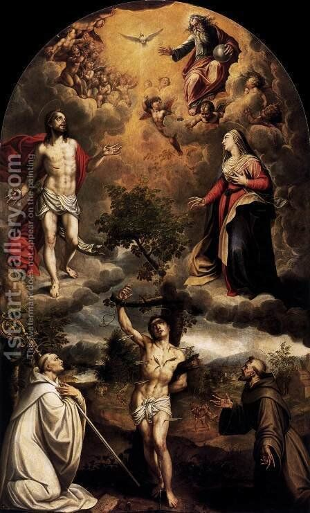 St Sebastian between St Bernard and St Francis by Alonso Sanchez Coello - Reproduction Oil Painting