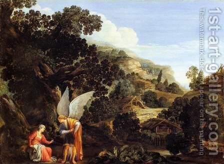 An Angel Appearing to the Wife of Manoah by Carlo Saraceni - Reproduction Oil Painting