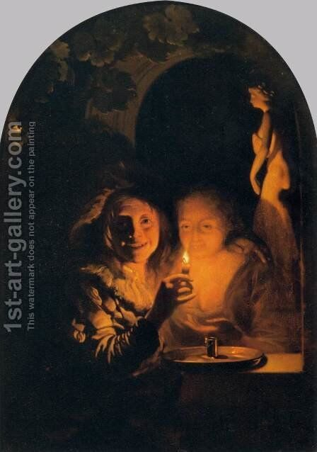 Lovers Lit by a Candle by Godfried Schalcken - Reproduction Oil Painting