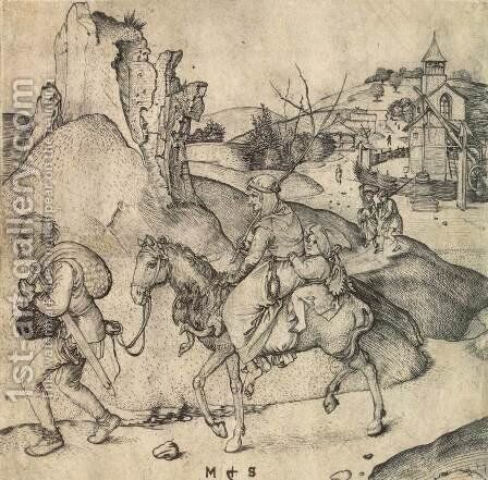 Peasant Family Going to the Market by Martin Schongauer - Reproduction Oil Painting