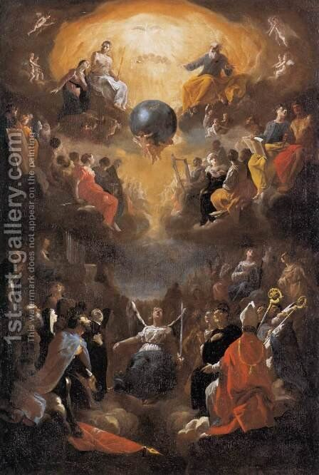Adoration of the Holy Trinity by Johann Heinrich Schonfeld - Reproduction Oil Painting