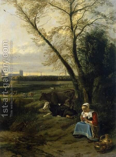 Shepherdess by Jan Siberechts - Reproduction Oil Painting