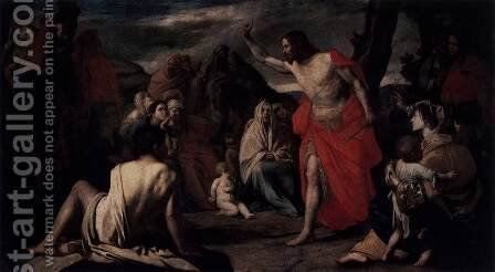 The Preaching of St John the Baptist in the Desert by Massimo Stanzione - Reproduction Oil Painting
