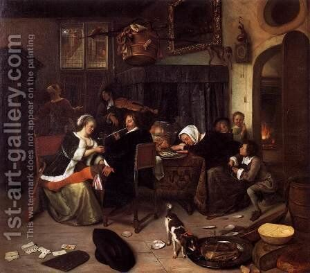 The Dissolute Household by Jan Steen - Reproduction Oil Painting
