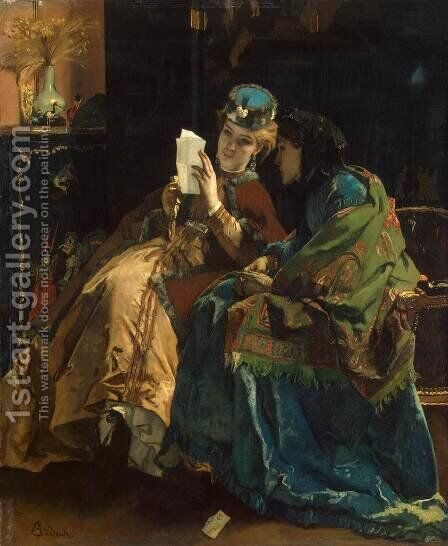 Pleasant Letter by Alfred Stevens - Reproduction Oil Painting