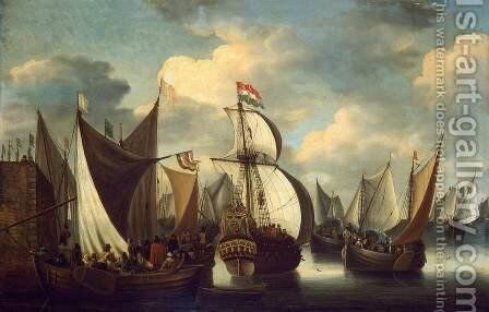 View of a Harbour by Jacobus Storck - Reproduction Oil Painting
