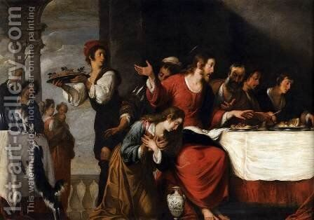 Banquet at the House of Simon (detail) by Bernardo Strozzi - Reproduction Oil Painting