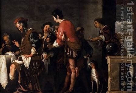 Banquet at the House of Simon (detail) 2 by Bernardo Strozzi - Reproduction Oil Painting