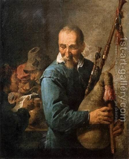 The Musette-Player by David The Younger Teniers - Reproduction Oil Painting