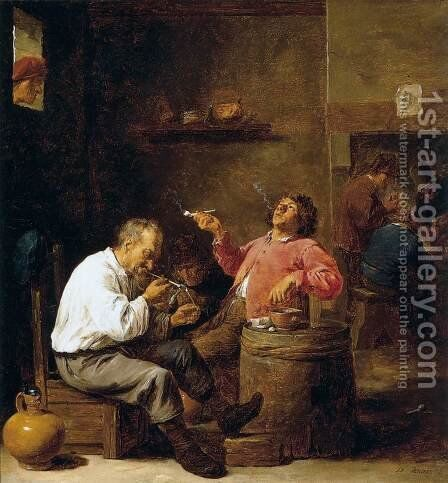Smokers in an Interior by David The Younger Teniers - Reproduction Oil Painting