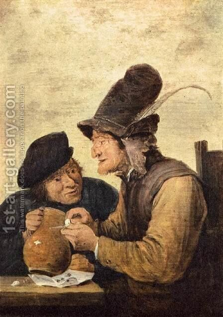 Two Drunkards by David The Younger Teniers - Reproduction Oil Painting