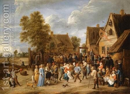 Village Revel with Aristocratic Couple by David The Younger Teniers - Reproduction Oil Painting
