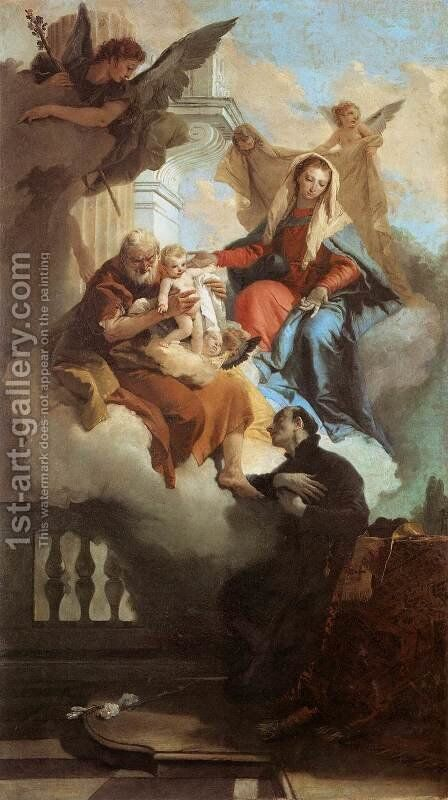 The Holy Family Appearing in a Vision to St Gaetano by Giovanni Battista Tiepolo - Reproduction Oil Painting