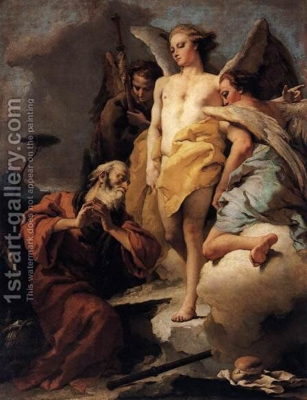 Abraham and the Three Angels 2 by Giovanni Battista Tiepolo - Reproduction Oil Painting