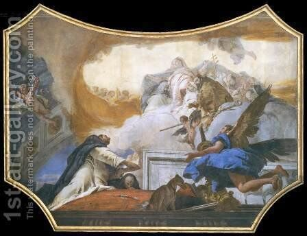 The Virgin Appearing to St Dominic by Giovanni Battista Tiepolo - Reproduction Oil Painting