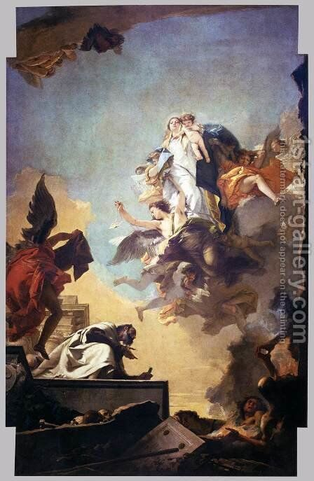 Apparition of the Virgin to St Simon Stock 2 by Giovanni Battista Tiepolo - Reproduction Oil Painting