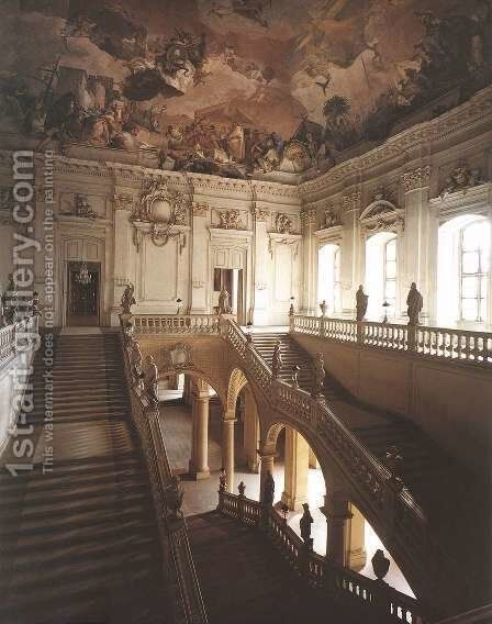 Stairwell seen from the gallery, looking south-east by Giovanni Battista Tiepolo - Reproduction Oil Painting