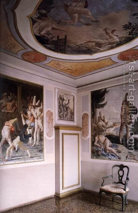 View of a Reconstructed Room by Giovanni Domenico Tiepolo - Reproduction Oil Painting