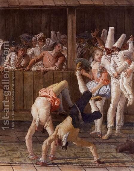 Pulcinella and the Tumblers by Giovanni Domenico Tiepolo - Reproduction Oil Painting