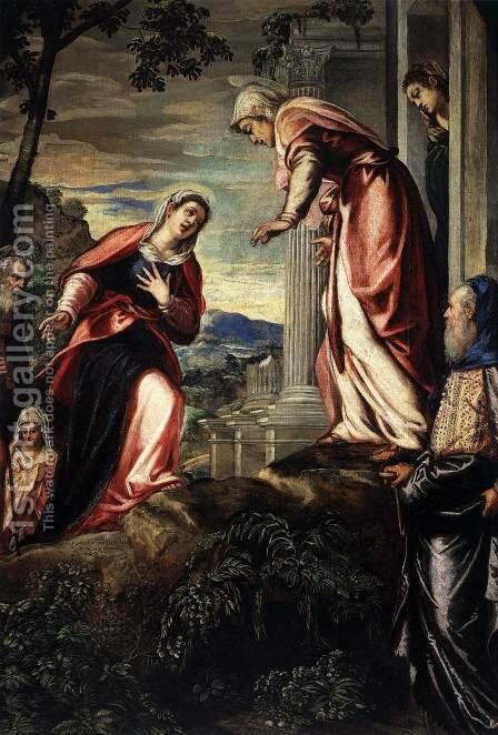 The Visitation (detail) by Jacopo Tintoretto (Robusti) - Reproduction Oil Painting