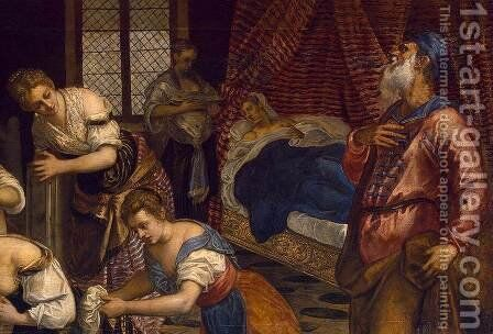 The Birth of John the Baptist (detail) by Jacopo Tintoretto (Robusti) - Reproduction Oil Painting