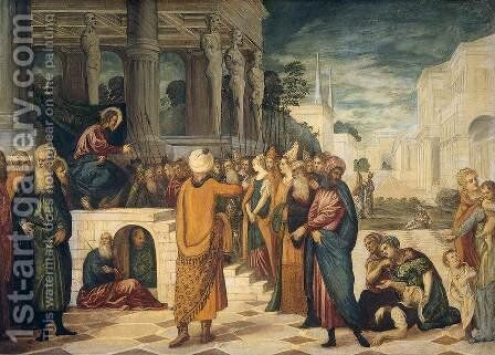 Christ and the Adulteress 2 by Jacopo Tintoretto (Robusti) - Reproduction Oil Painting