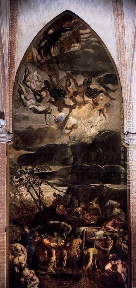 Moses Receiving the Tables of the Law 2 by Jacopo Tintoretto (Robusti) - Reproduction Oil Painting