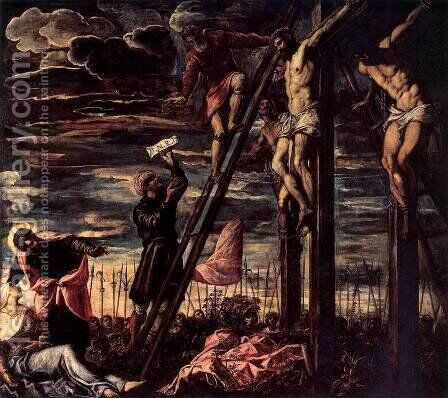 The Crucifixion of Christ by Jacopo Tintoretto (Robusti) - Reproduction Oil Painting