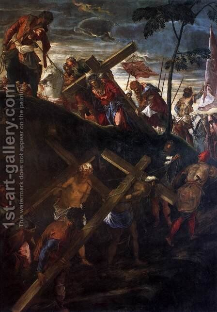 The Ascent to Calvary 2 by Jacopo Tintoretto (Robusti) - Reproduction Oil Painting