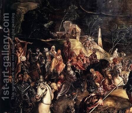 The Crucifixion (detail) 2 by Jacopo Tintoretto (Robusti) - Reproduction Oil Painting