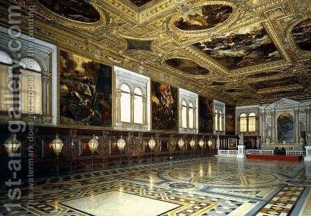 View of the Sala Superiore 2 by Jacopo Tintoretto (Robusti) - Reproduction Oil Painting