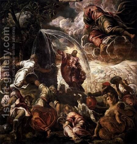 Moses Drawing Water from the Rock by Jacopo Tintoretto (Robusti) - Reproduction Oil Painting