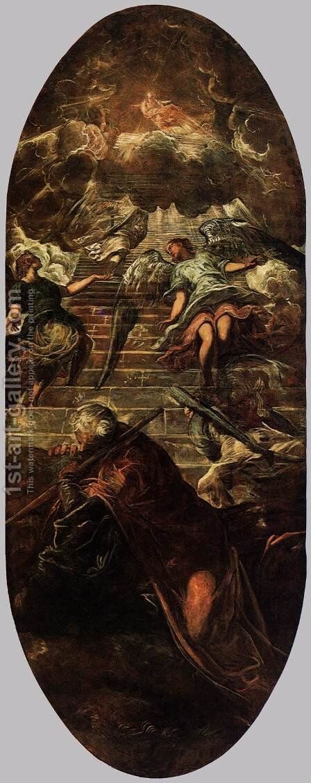 Jacob's Ladder 2 by Jacopo Tintoretto (Robusti) - Reproduction Oil Painting